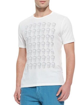 Skull-Print Short-Sleeve Tee, White