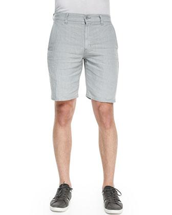 Triple Needle Linen Shorts