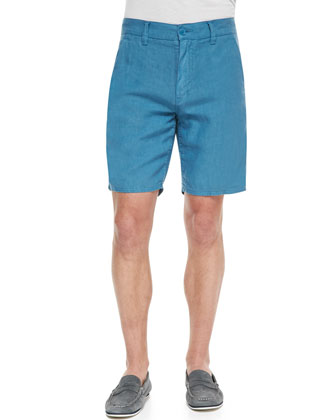 Triple Needle Linen Shorts, Blue Topaz