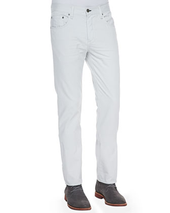 Distressed Straight-Leg Jeans, Glacier White