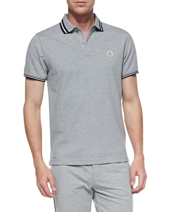 Pique Tipped Polo, Dark Gray