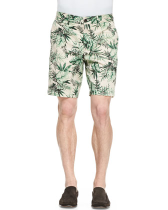 Pique Tipped Polo & Twill Leaf-Print Shorts