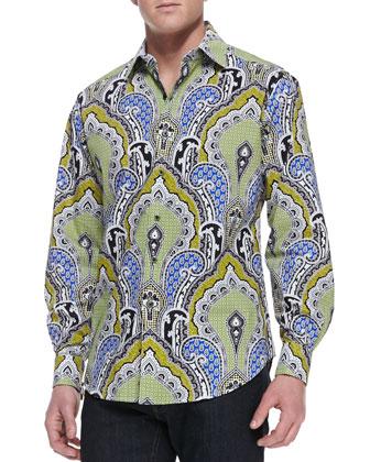 Falcon Paisley-Print Sport Shirt, Multi