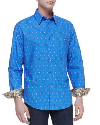 Cicada Medallion-Print Sport Shirt, Blue
