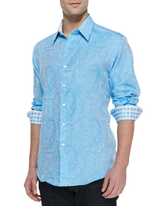 Aquafin Long-Sleeve Paisley Shirt, Light Blue
