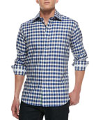 Laurino Plaid Sport Shirt, Navy/White