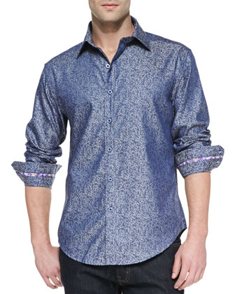Massimo Tailored-Fit Sport Shirt, Blue