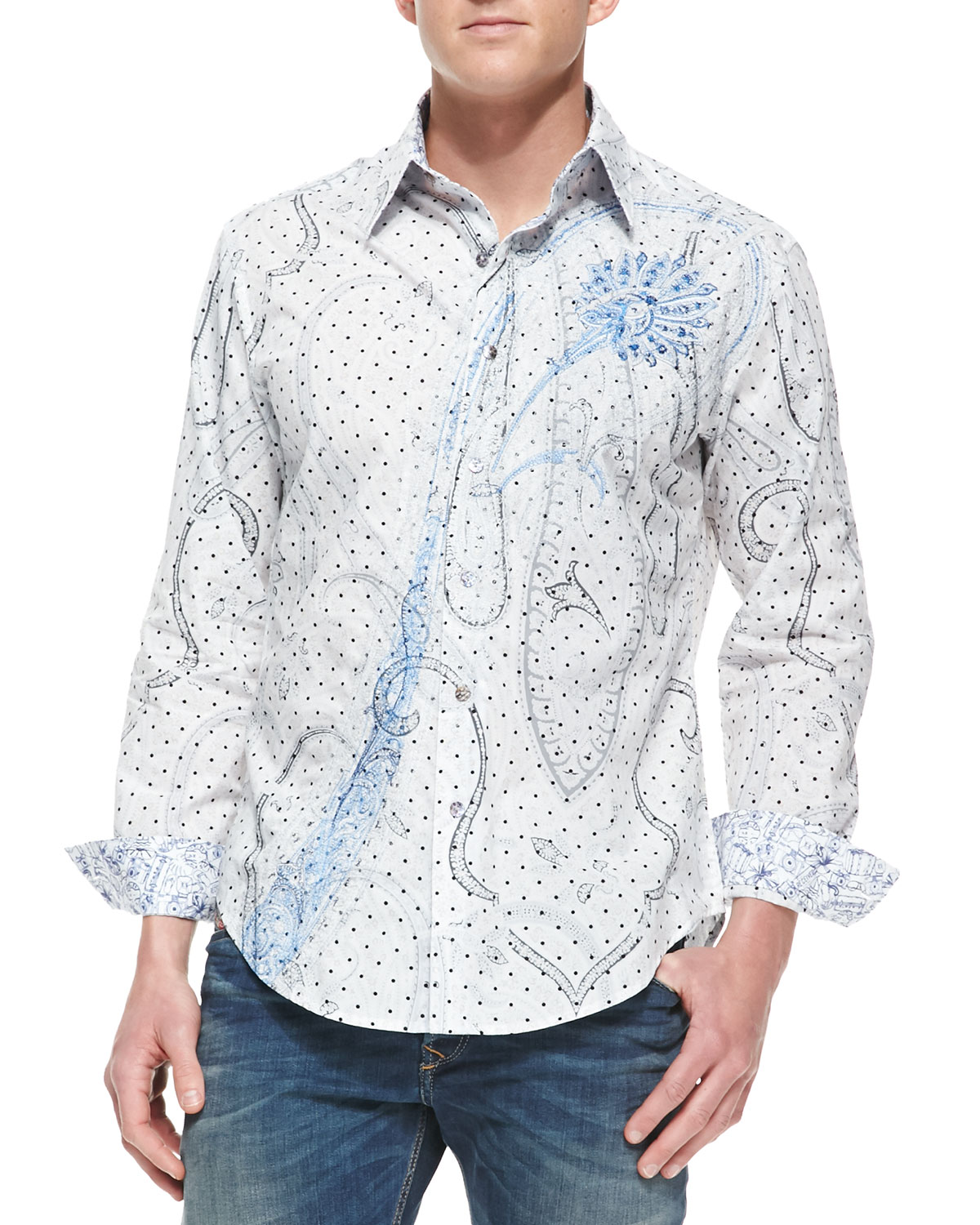 Mens Chianti Poplin Paisley Design Long Sleeve Shirt   Robert Graham   White