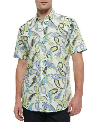 Tomaso Short-Sleeve Paisley Sport Shirt