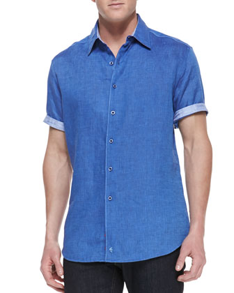 Laconti Short-Sleeve Button-Down Shirt, Blue