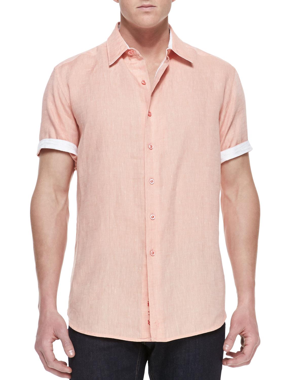 Mens Laconti Short Sleeve Button Down Shirt, Peach   Robert Graham   Peach