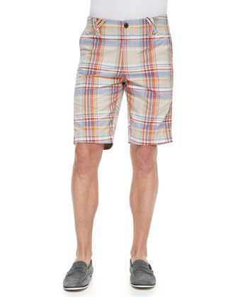 Anacapri Plaid Shorts with Origami Belt Loops, Multicolor