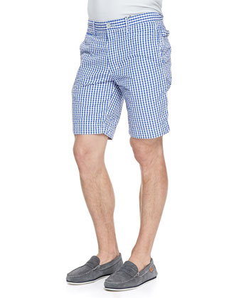 Forgione Check Seersucker Shorts, Blue