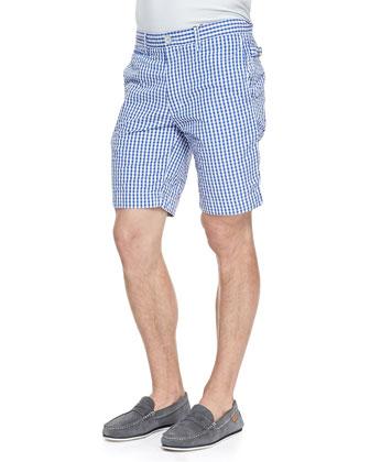 Forgione Check Seersucker Shorts, Blue