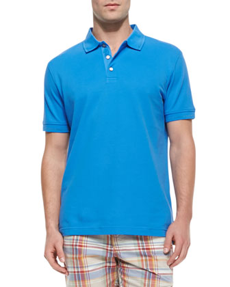 Numero Solid Short-Sleeve Polo Shirt, Blue