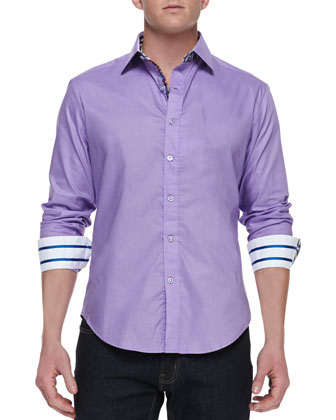 Torino Button-Down Shirt with Patterned Lining, Lilac/Multicolor