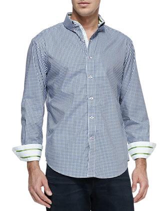 Orsino Striped-Cuff Check Sport Shirt