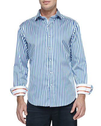 Vesuvius Striped Sport Shirt, White/Navy