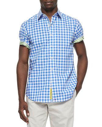 Aegean Short-Sleeve Sport Shirt, Blue