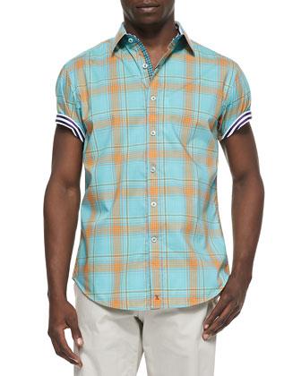 Sandstone Short-Sleeve Sport Shirt, Orange