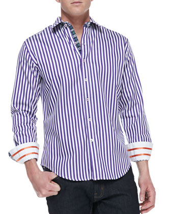 Pietro Striped Button-Down Shirt with Patterned Lining, Purple/White