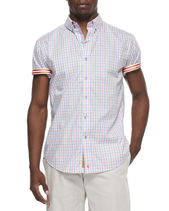 Lorenzo Short-Sleeve Sport Shirt, Orange