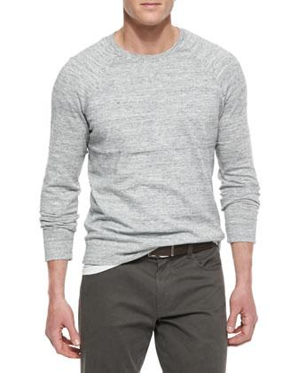 Melange Knit Raglan Sweater, Light Gray