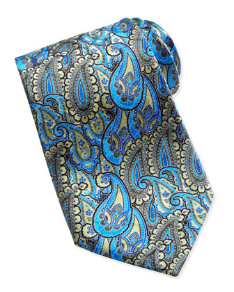 Layered Paisley Tie, Green