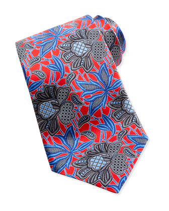 Oversized Floral-Print Silk Tie, Red