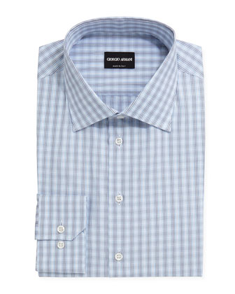 Box-Plaid Dress Shirt, Light Blue