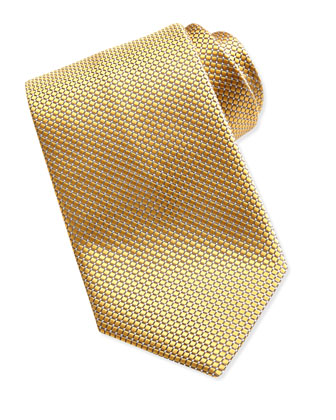 Textured Check & Dot Silk Tie, Yellow