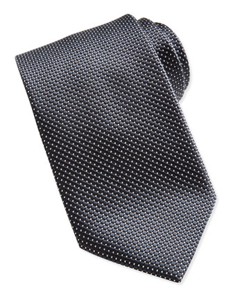 Textured Check & Dot Silk Tie, Black