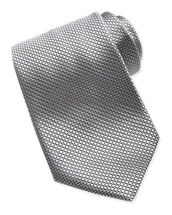 Textured Check & Dot Silk Tie, Silver