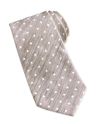 Woven Dot Silk Tie, Brown