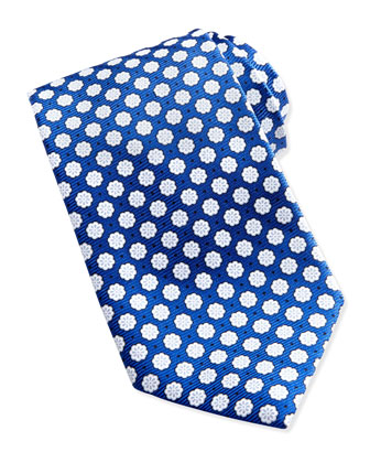 Woven Chalk Flowers Silk Tie, Blue