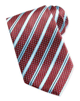 Woven Satin-Stripe Silk Tie, Red