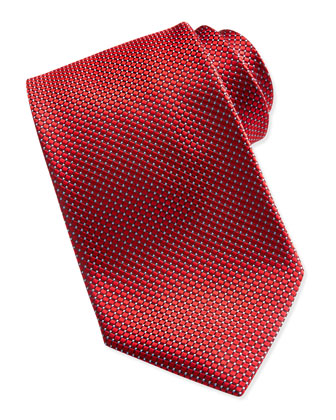 Textured Check & Dot Silk Tie, Red