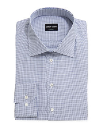 Textured Micro-Check Dress Shirt, Midnight/White