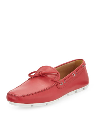 Leather Boat Shoe, Red