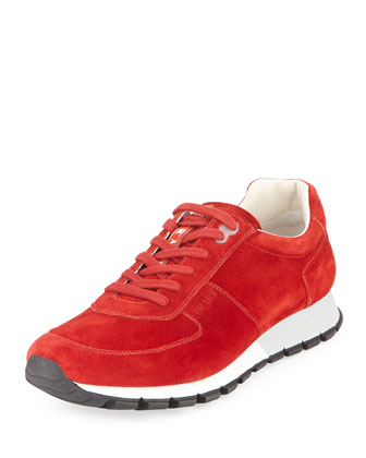 Suede Training Sneaker, Red