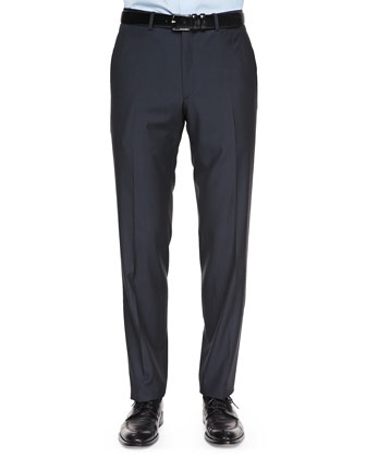 Wool Flat-Front Trousers, Navy