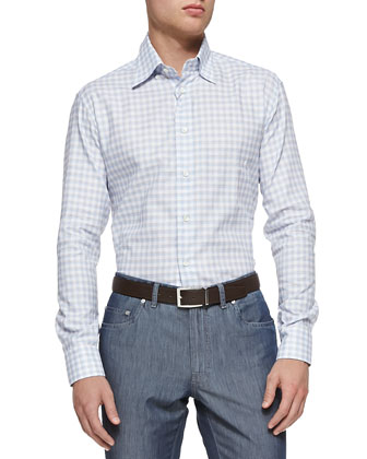Textured Check Button-Down Shirt & Cotton/Silk Denim Jeans