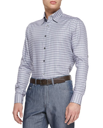 Mini-Check Woven Shirt, Purple