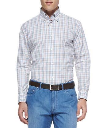 Plaid Woven Button-Down Shirt, Multi