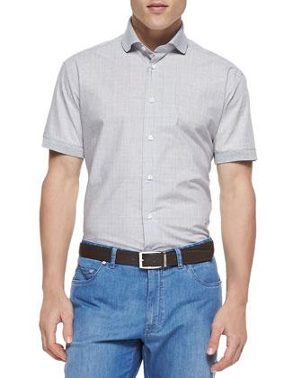 Plaid Short-Sleeve Poplin Shirt, Slate