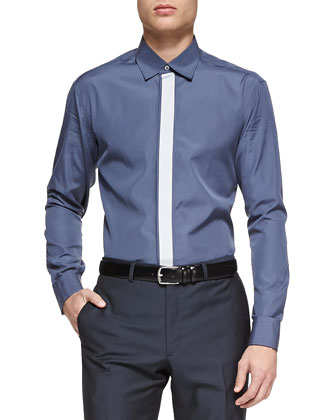 Fly-Front Dress Shirt, Charcoal