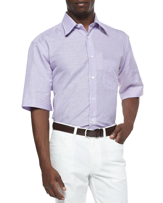 Mens Check Short Sleeve Cotton/Linen Shirt, Purple   Brioni   Purple (LARGE)