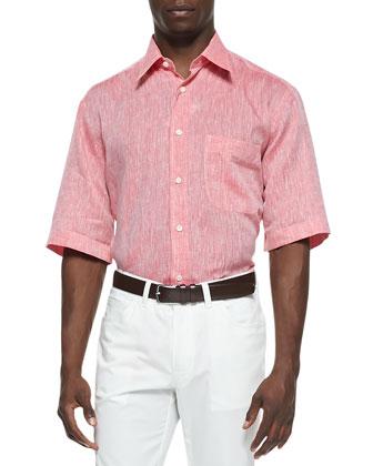 Short-Sleeve Button-Down Linen Shirt, Coral