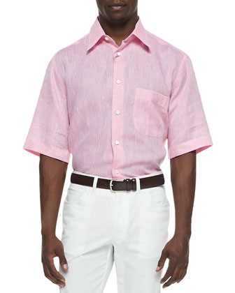 Short-Sleeve Button-Down Linen Shirt, Coral
