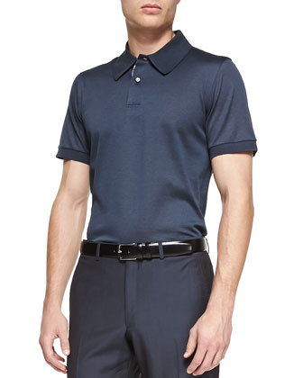 Check-Placket Polo Shirt and Wool Flat-Front Trousers